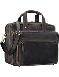 STILORD 'Walt' Vintage Aktentasche Leder Herren Damen Lehrertasche XL groß Büro Business Umhängetasche für 15,6 Zoll Laptop Echt Leder