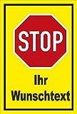 Schild - Stop - Halt - Ihr Wunschtext – 60x40cm mit Bohrlöchern | stabile 3mm starke Aluminiumverbundplatte – S00357-001-C +++ in 20 Varianten erhältlich