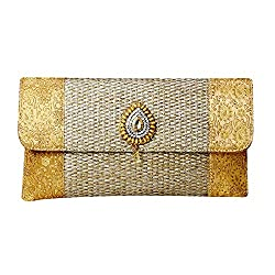 Aadhunik Libaas Ethnic Silk and Jute Designer Wedding Party Clutch for Women / Girls (Gold)