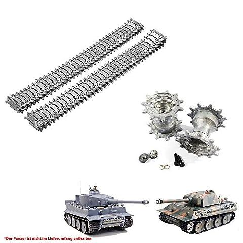 Original Metallketten und Metallräder Upgrade Kit für Henglong German Tiger I und German Panther RC Panzer 3818, 3818-1, 3819, 3819-1, Ersatz-Ketten, Tank, RC Modellbau, Kettenfahrzeug, Ersatzteil, Neu und OVP