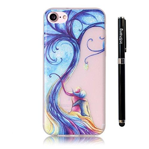 inShang iPhone 7 Plus Custodia 5.5 inch [Trasparente cover iPhone] [luminoso nel buio], comoda Cover posteriore di case di stile di protezione + inShang Logo pennino di alta classe 03