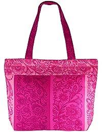 Multipropósito rosado con milticolor Bolsa de la compra - La bolsa de asas de algodón con cierre de cremallera y dos asas