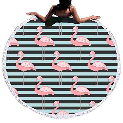 Peng Sheng große runde Badetuch Kreis Tapisserie, Mikrofaser Runde Badetuch Decke Handtuch hängen Hippie Yoga Picknickdecke (Flamingo) -