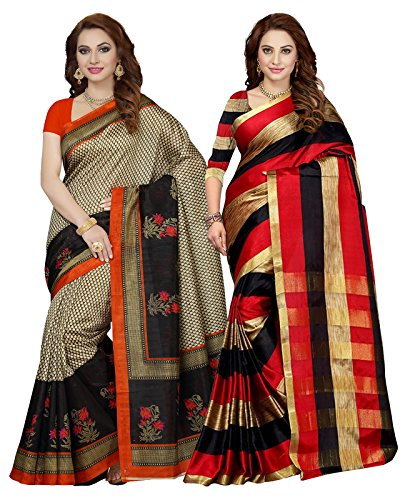 Ishin Women's Silk Saree With Blouse Piece (Combosr-2069_Multicolor)- Combo Pack of 2