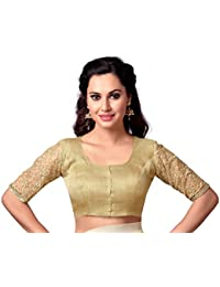 85635cce3ac10 STUDIO SHRINGAAR LATEST GOLDEN BROCADE READYMADE SAREE BLOUSE WITH ELBOW  LENGTH EMBROIDERED NET SLEEVES