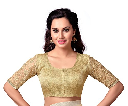 STUDIO SHRINGAAR LATEST GOLDEN BROCADE READYMADE SAREE BLOUSE WITH ELBOW LENGTH EMBROIDERED...