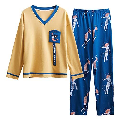 DUXIAODU Damen Schlafanzug Zweiteiliger Schlafanzug Einfarbige Baumwolle Pyjama Set mit Rundhalsausschnitt,Baumwolle süße Mode Bademantel A-2 M