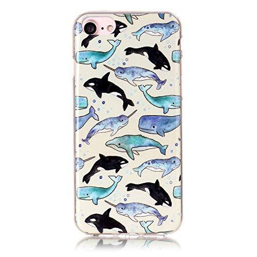 iPhone 7 Hülle,iPhone 7 Case, Cozy Hut Kreativ Design 3D Transparent TPU Hard Case Hülle Diamond Sequins Hülle Tasche Handyhülle Glitter Glitzer Sparkle Hart Plastik HardCase Crystal Clear Rückseite H Delphin