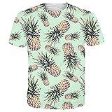 Funnycokid Unisex T-Shirt Männer Dame 3D Drucken Ananas Paar Party T-Shirt
