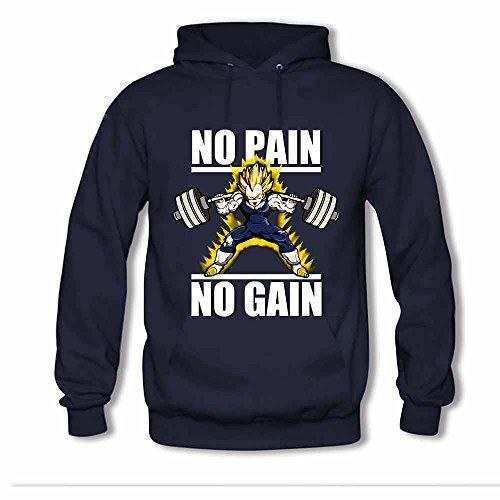 Mens Hooded Sweatshirt No Pain No Gain - Dragon Ball z Hoodie XL