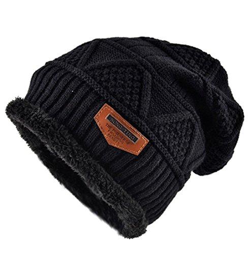Kuyou Berretto in maglia Di lana Uomo Cappello Beanie Inverno (Nero)