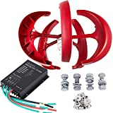Buoqua windgenerator 300 watt Wind Generator 24v Wind Turbine Generator 300w mit 5 Rotorblättern Red Lantern mit Laderegler für Power Supplementation (NE-300R 24V)
