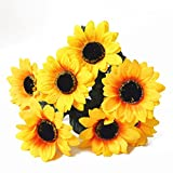 Bodhi2000 7 Heads Artificial Sunflower Bouquet Faux Silk Flowers Living Room Decor