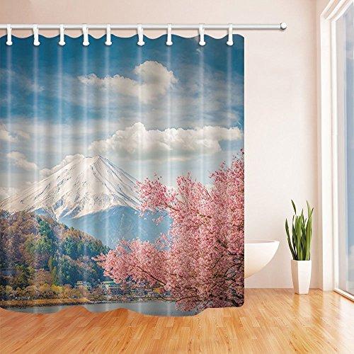 nyngei Mount Fuji und Sakura bei kawaguchiko Japan Duschvorhang Polyester-Schimmelresistent-Badezimmer Badewanne Vorhänge Set mit Haken, 179,8x 179,8cm (muliti20) (Badezimmer-set Sakura)