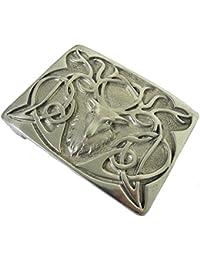 Glen Esk - Hebilla de cinturón para kilt escocés - Diseño ciervo astado - Peltre pulido