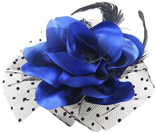 Sourcingmap Pince à cheveux/broche ornée d'une fleur et de plumes Noir/bleu foncé