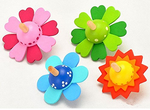 Abenily Mögliche Spielsachen Hölzerner gemalter niedlicher Blumen-drehender Kreiselkompaß-pädagogisches Spielzeug (Farbe gelegentlich)