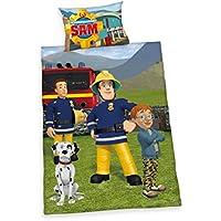 Herding 247016063 Bettwäsche Feuerwehrmann Sam, Kopfkissenbezug 40 x 60 cm und Bettbezug 100 x 135 cm, 100 % Baumwolle, Renforce