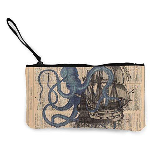 ewtretr Turnbeutel Hipster Sporttaschen Women's Canvas Zip Around Wallet Ladies Clutch Travel Purse Wrist Strap Ocean Octopus Nautical Boat Pirate Flag (Zip Travel Wallet Around)