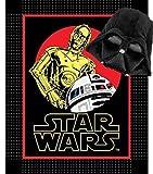 Star Wars classique Droïdes pas coudre Couvre-lit polaire couverture avec grande Dark Vador en peluche Taie d'oreiller