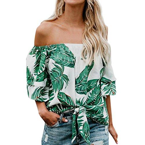 LeeY Frauen Damen T-Shirt Sexy Schulterfrei Halbe Hülse Bluse Top Ladies Sommer Casual Bandage Druck Oberteil Locker Bluse Tops Unterhemd - Weiches Material - Sehr Angenehm Zu Tragen (Grün, S) (Ernte-unterhemd)