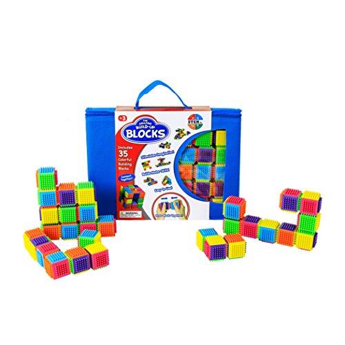 Stem Jr. The Amazing Build-up Bristle Shape Blocks (35 Piece), Multicolor