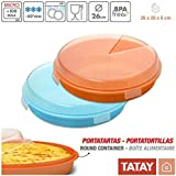 TATAY Lote de 2 Prácticos Porta Tartas / Tortillas de 26 cm de Diametro, en Color Azul Turquesa y Naranja