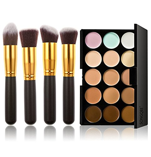 Goolgoes Fashion Base 15 Colors Contour Face Cream Makeup Concealer Palette With 4pcs Makeup Brushes Set by Fashion Base (TM)