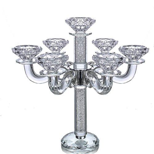 H&D klassisch Kristall Kerzenständer Kerzenleuchter Glas Kandelaber, Kerzenständermit 7 Armen Kerzenhalter Leuchter für Hause Hochzeit Decor 290 mm