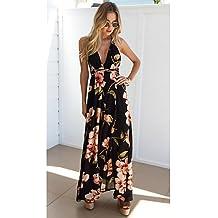 GAOLIM Womens Plus Size Puff Manga Delgado Vestido Suelto - Floral, El Plisado,Negro,Xl