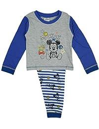 Disney Jungen Baby Kleinkind Micky Maus Knöpfe Schlafanzug Grau größen von 6 bis 24 Monate