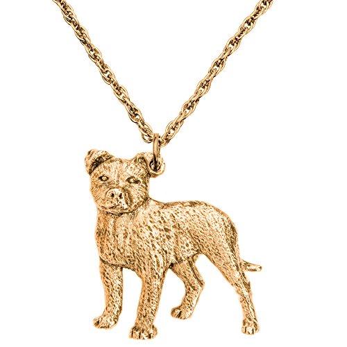 Staffordshire Bull Terrier Hergestellt in U.K. Kunstvolle Hunde- Anhänger Sammlung (22 Karat Vergoldung / gold plattiert) (Bull Schmuck Hund Terrier)