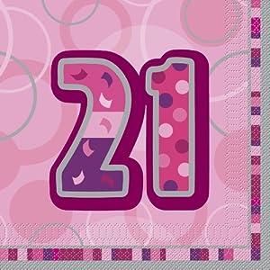 Unique Party- Paquete de 16 servilletas de papel de 21 cumpleaños, Color rosa, Edad (28439)
