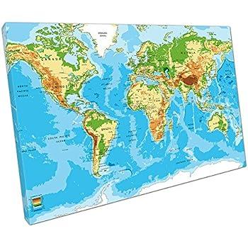Bold bloc design school world atlas maps flags 90x60cm canvas eacanvas world map atlas canvas wall art picture large 75 x 50 cm gumiabroncs Gallery
