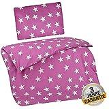 Aminata Kids Sterne Bettwäsche 100x135 cm + 40 x 60 cm aus Baumwolle mit Reißverschluss, unsere Kinderbettwäsche mit Stern-Motiv ist weich und kuschelig