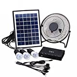 #7: Quace Solar Powered System with Rechargeable Battery, Includes Fan, USB Mobile Charger, 3 LED Bulbs with Intelligent Circuit Protection - 1 Year Warranty - Introductory Promotion Price