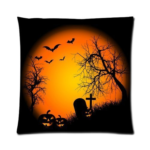 Custom Happy Halloween Pillowcase Zippered Pillow Cover Cases Kissenbezüge 22x22Inch(55cmx55cm) (Happy Halloween Stitch)