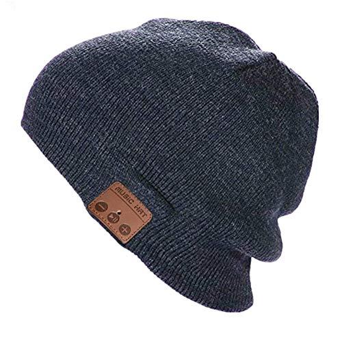 Cappello Bluetooth senza fili Bluetooth Beanie Cappello Music Hat Unisex Inverno Berretto maglia Berretto per corsa all'aria aperta Sci campeggio Escursionismo del Regali di Natale - Grigio scuro