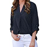 Damen Langarm SUNNSEAN Frauen Langarmshirts Punkt T-Shirt Lässige Oberteile Tops Lose V-Ausschnitt Shirt Tuniken Bluse Pullover Hemden