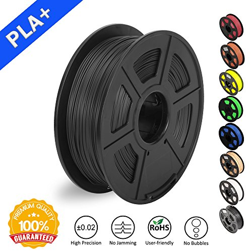 SUNLU 3D Printer Filament PLA Plus Black(more like grey),PLA Plus Filament 1.75 mm, Low Odor Dimensional Accuracy +/- 0.02 mm 3D Printing Filament,2.2 LBS (1KG) Spool 3D Printer Filament for 3D Printers & 3D Pens,Black(more like grey)