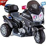 crooza US HighWay Patrol POLIZEI MOTORRAD Elektro Kindermotorrad Roller Kinderfahrzeug (Schwarz)