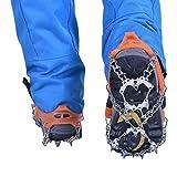 Outdoor Wasserdichte Gamaschen + Steigeisen mit 18 Zähne Schneekette Set für Skifahren, Snowboarden Wandern, Klettern, Schneewandern Bergsteigen Jagd