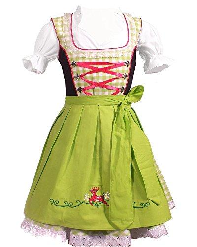 Kiddy Tracht Trachtenkleid 3tlg. Kinder Dirndl Mädchen Kleid Gr. 92,104,116,128,140,146,152, Grün Weis Kariert, 92
