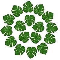 KUUQA 24 Pcs Artificial Tropical Leaves Hawaiian Luau Party Decor Medium Simulation Tropical Monstera Plant Leaves for Safari Jungle Beach Theme Birthday Party Decorations Supplies