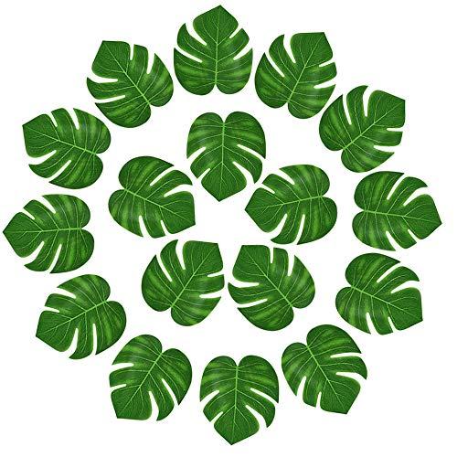 KUUQA 24 Stücke Künstliche Tropische Blätter Hawaiian Luau Party Decor für Safari Dschungel Strand Thema Geburtstag Dekorationen Lieferungen