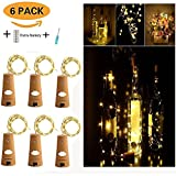 [Pack of 6] Wine Bottles Cork Lights , (6.6ft/2M) /20 LED Starry String Lights, Copper Wire Cork Bottle Lights for Bottle DIY, Christmas, Wedding, Outdoor BBQ, Gathering and Party Décor