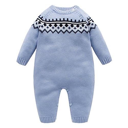 Bebé Mameluco Prendas de Punto niño para Invierno Vine Suéter de niño Suéter Pullover Mangas largas Azul 12-18 Meses