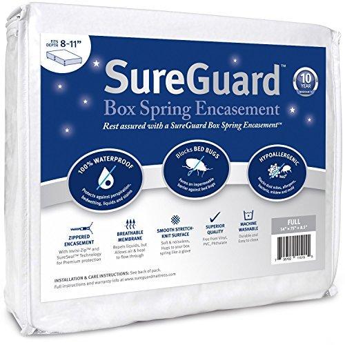 SUREGUARD Box Spring umgreifung-100% wasserdicht, Bed Bug Proof, hypoallergen-Premium Reißverschluss sechsseitig Bezug-10Jahre Garantie, Polyester, weiß, Volle Größe