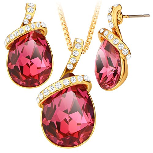fashion-jewelry-red-crystal-water-drop-leaves-romantic-18k-gold-necklace-earrings-sets-for-women-s20