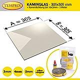 Kaminglas und Ofenglas 305 x 305 x 4 mm   Temperaturbeständig bis 800° C   » Wunschmaße auf Anfrage «   inkl. 10 x 2 mm Kamindichtung